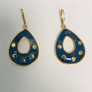 Lapis and Gold Color Earrings/High Fashion